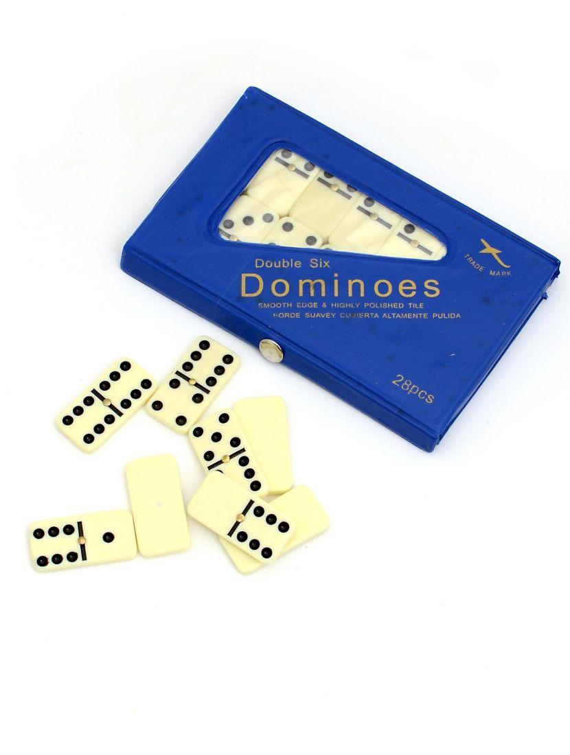 Домино 6 точек в синем футляре