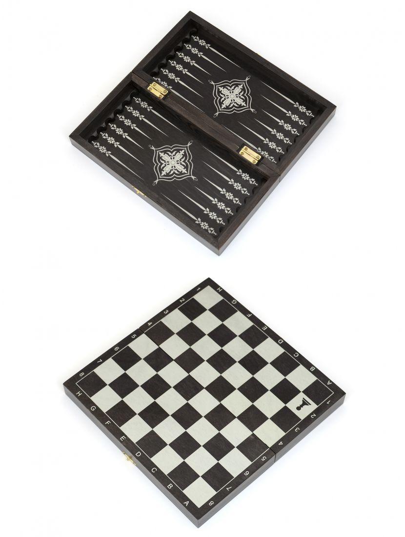 Доска 3 в 1 шахматы, шашки, нарды «Обиходная» серебро