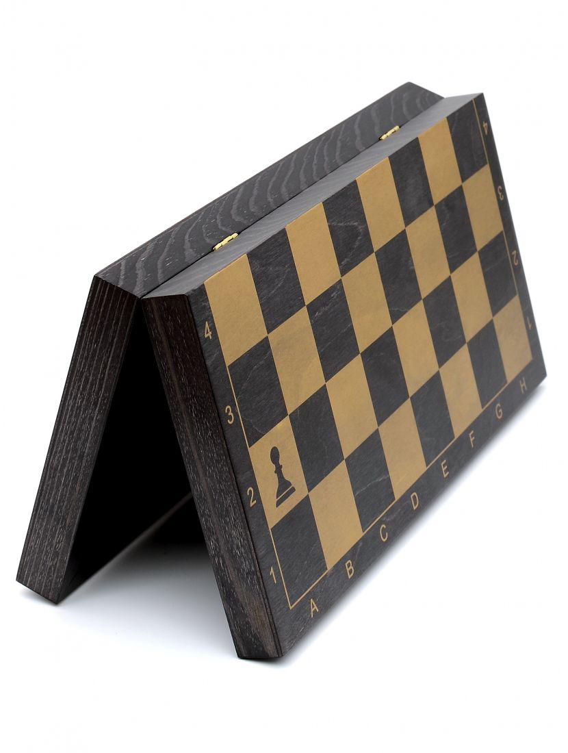 Шахматная доска «Гроссмейстерская» чёрная с золотом