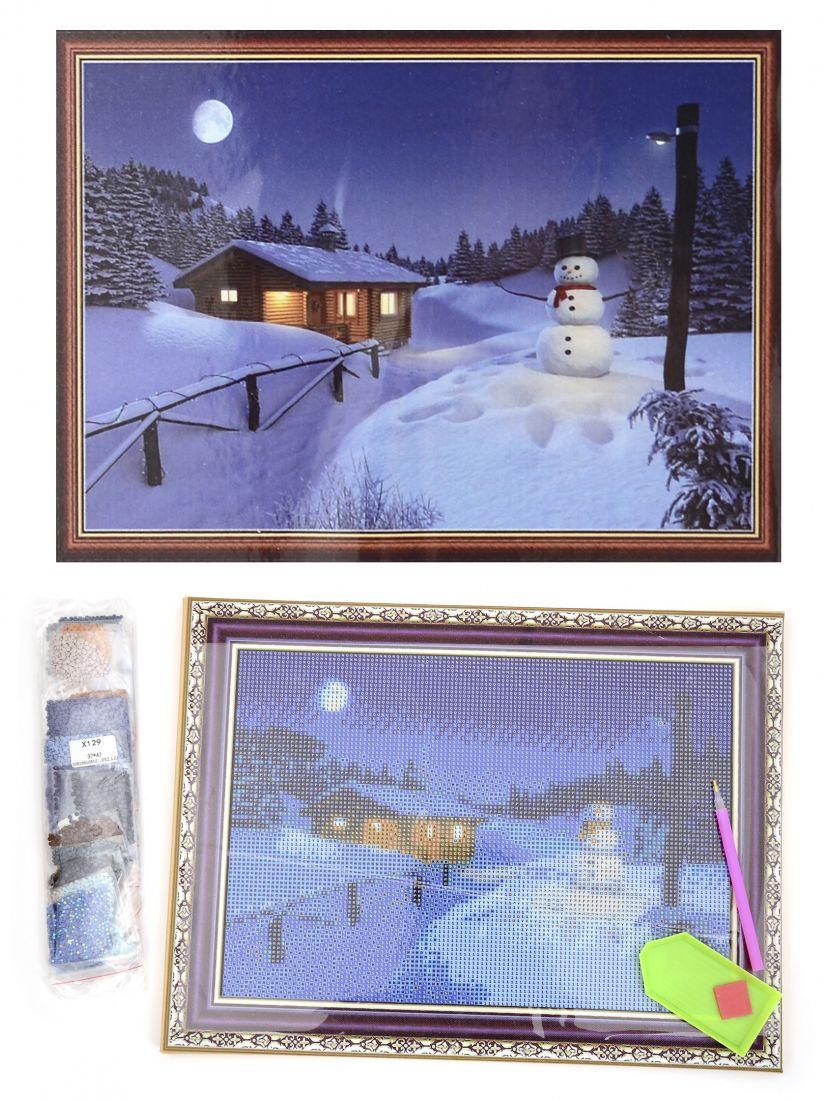 Алмазная мозаика на подрамнике «Хижина в зимнем лесу»