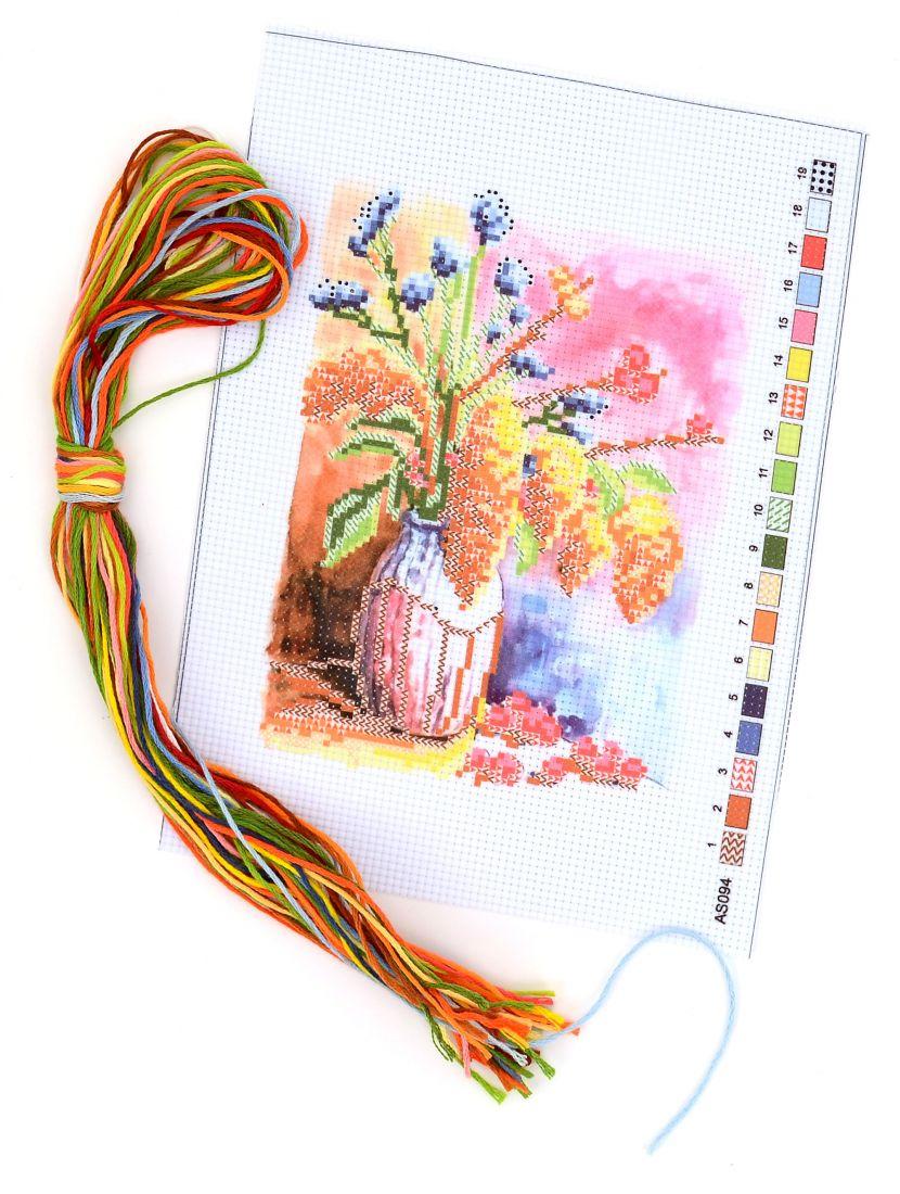 Набор для вышивания крестом «Цветы в банке»