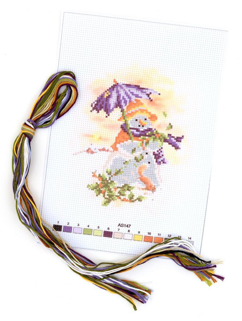 Набор для вышивания крестом «Снеговик под зонтом»