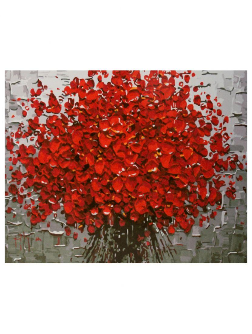 Картина по номерам  на подрамнике «Брызги красных лепестков»