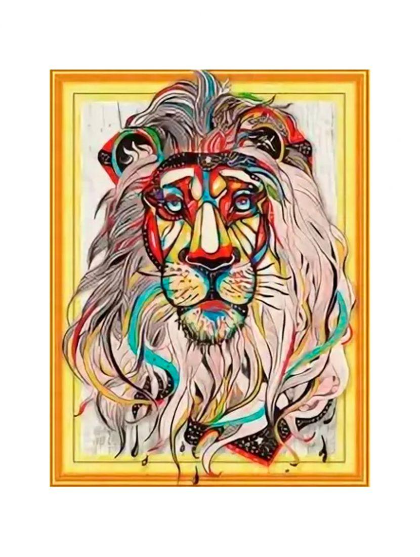Алмазная мозаика на подрамнике «Индийский лев»