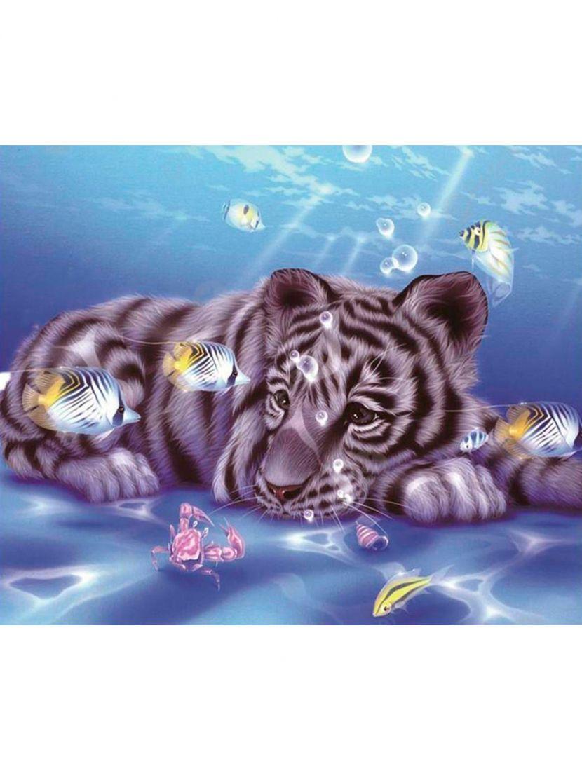 Алмазная мозаика «Тигрёнок с рыбками»