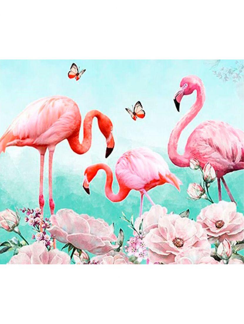 Картина по номерам  на подрамнике «Фламинго»