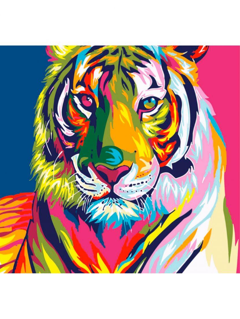 Картина по номерам  на подрамнике «Тигр в красках»