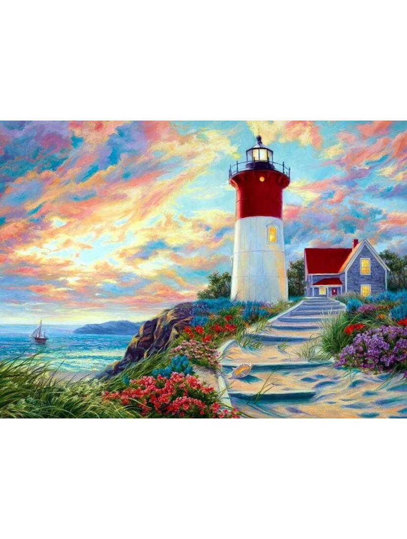 Алмазная мозаика на подрамнике «Тёплое весеннее море»