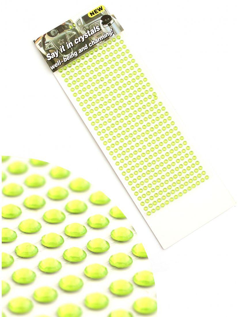 Стразы для рукоделия «Зелёные алмазы»  самоклеющиеся 4 мм.