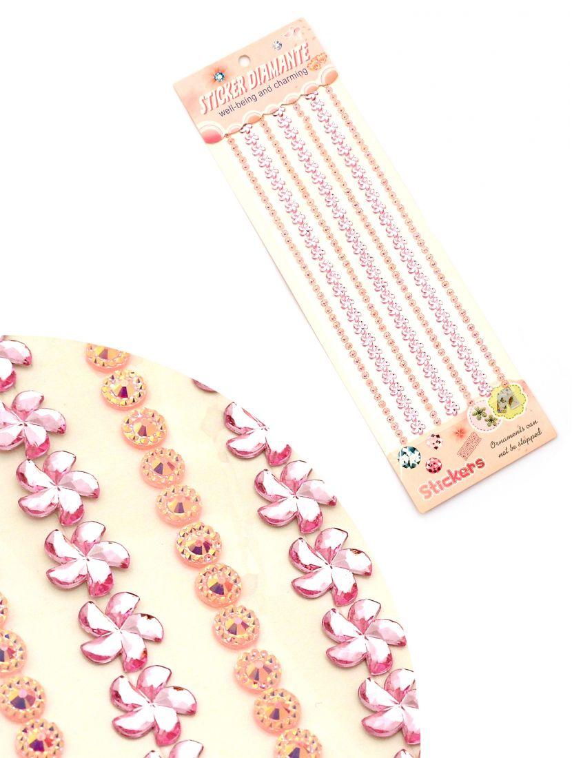 Стразы для рукоделия «Звёзды и кристаллы розовые» самоклеющиеся