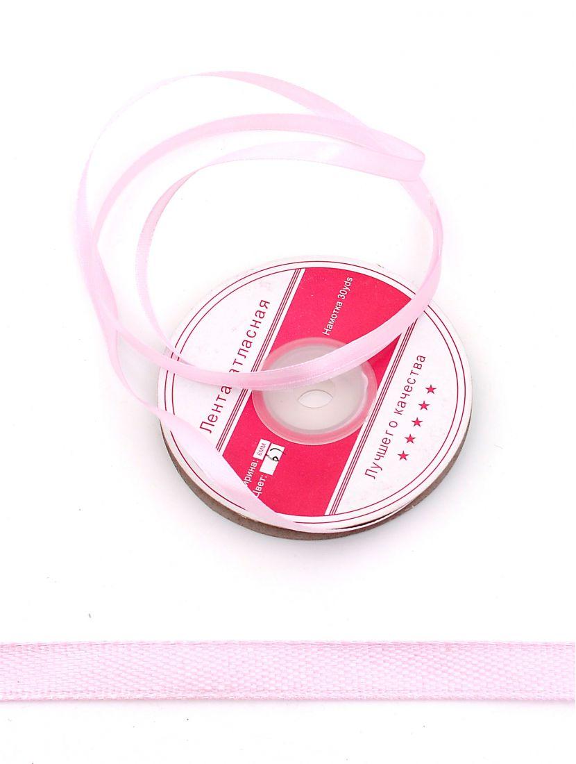 Лента атласная 6 мм розовая, намотка 27,4 м