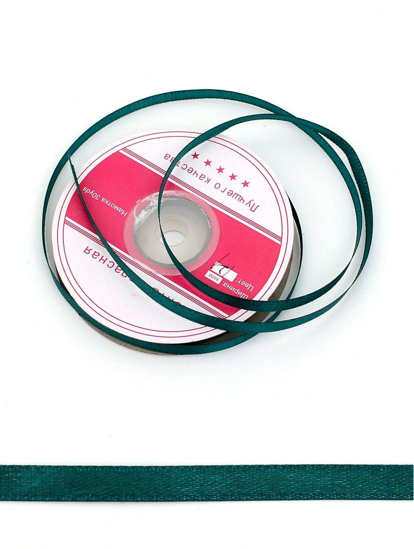 Лента атласная 6 мм зелёная, намотка 27,4 м