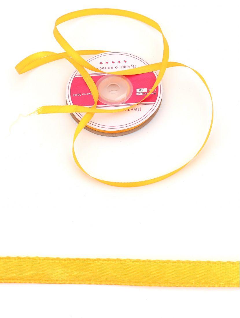 Лента атласная 6 мм жёлтая, намотка 27,4 м