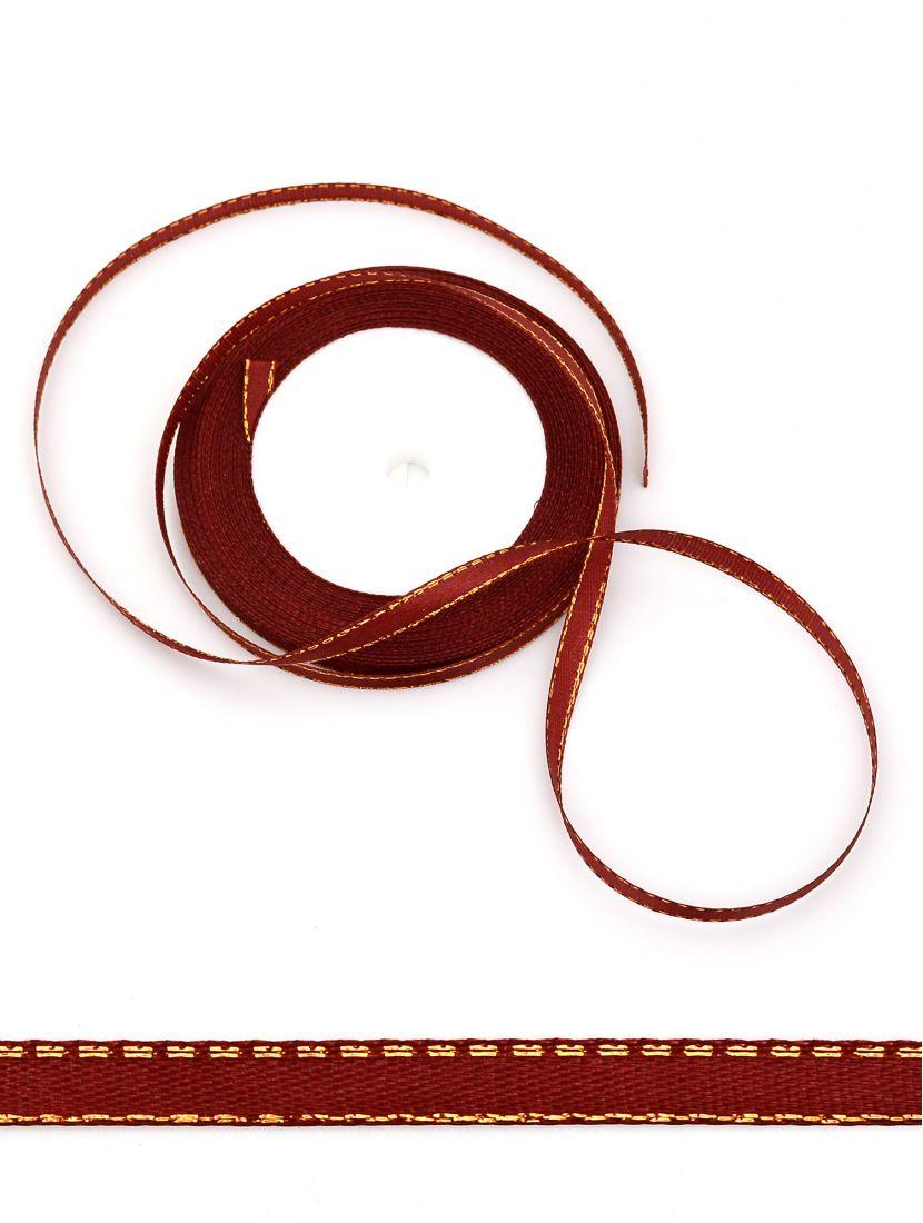 Лента атласная с люрексом 6 мм коричневая 22,4 м