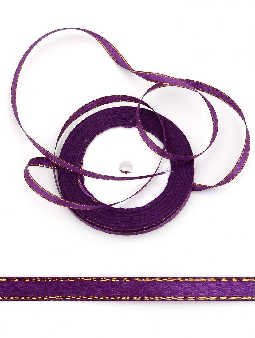 Лента атласная с люрексом 6 мм фиолетовая 22,4 м