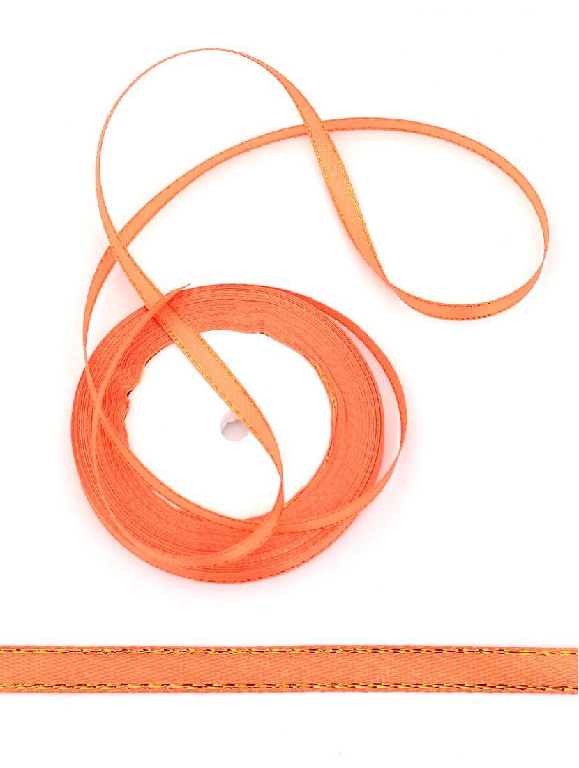 Лента атласная с люрексом 6 мм оранжевая 22,4 м