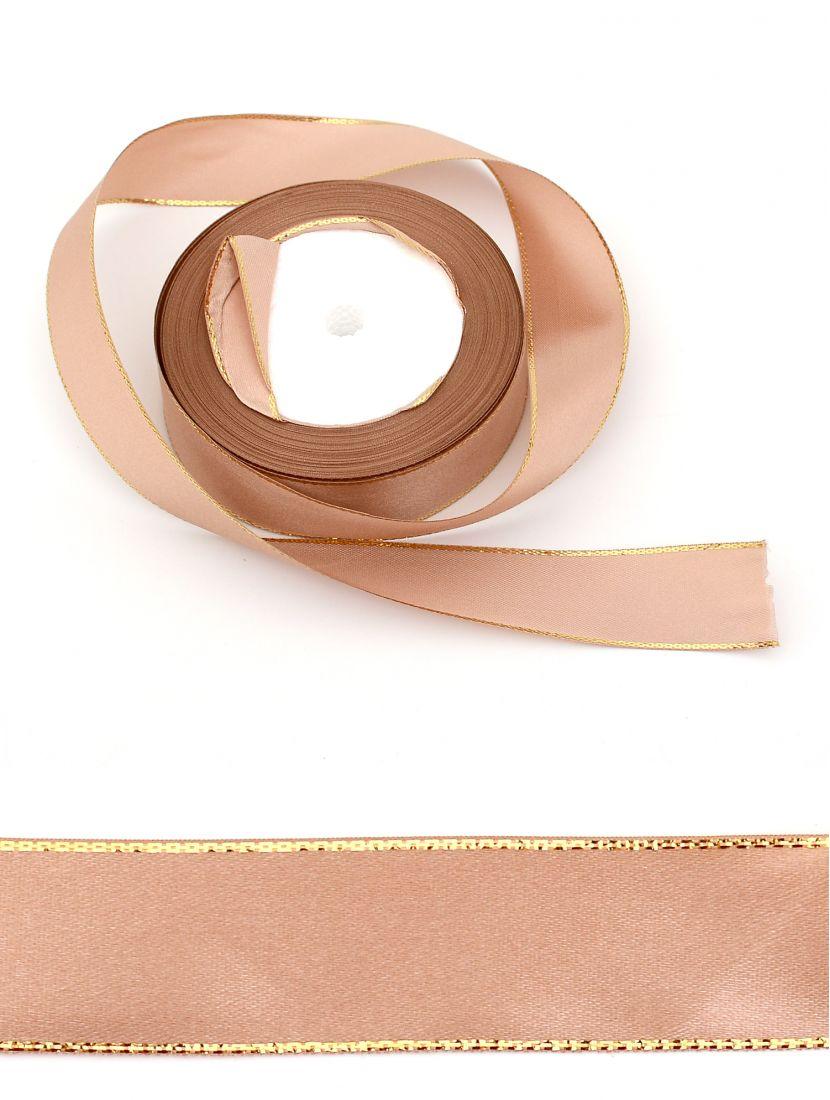 Лента атласная с люрексом 25 мм светло-коричневая 22,4 м