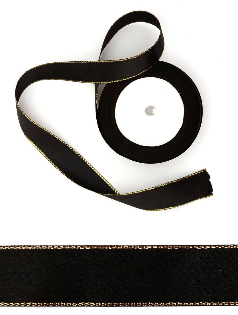 Лента атласная с люрексом 25 мм чёрная 22,4 м