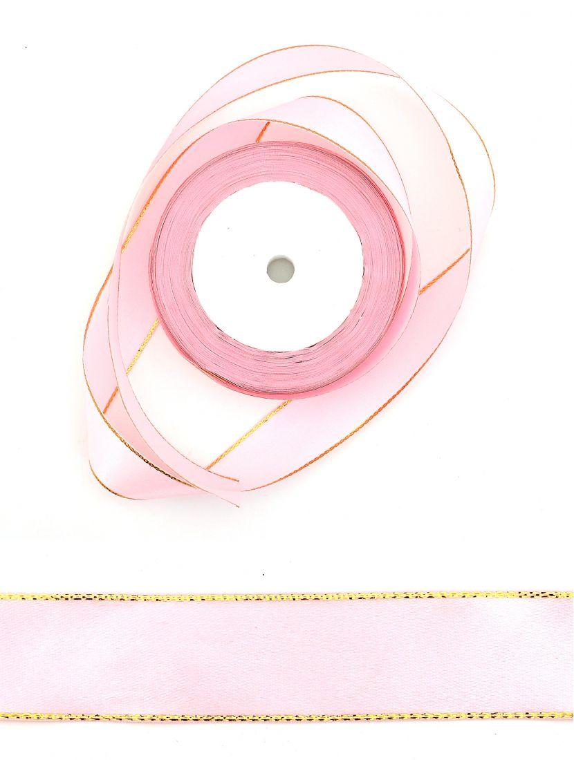 Лента атласная с люрексом 25 мм розовая 22,4 м