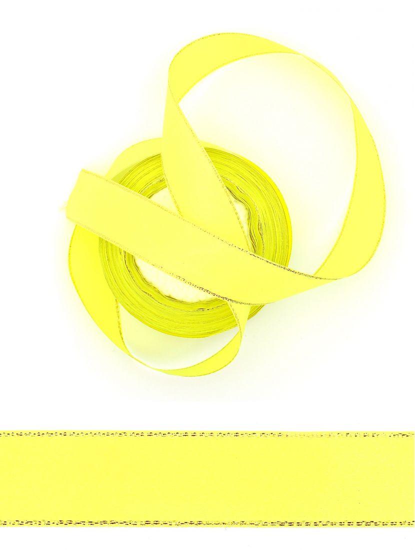 Лента атласная с люрексом 25 мм желто-зелёная 22,4 м