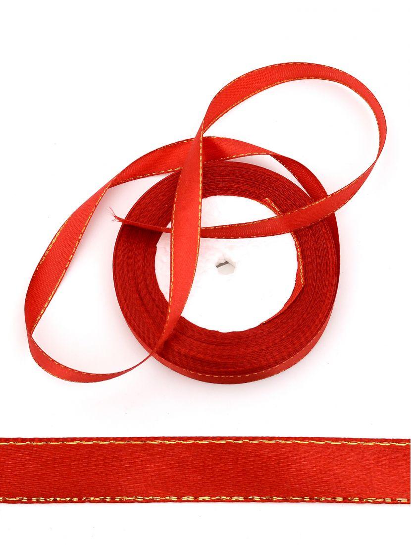 Лента атласная с люрексом 12 мм красная 25,4 м