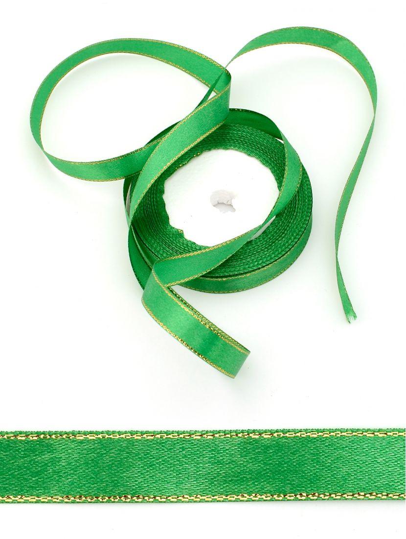 Лента атласная с люрексом 12 мм зелёная 25,4 м