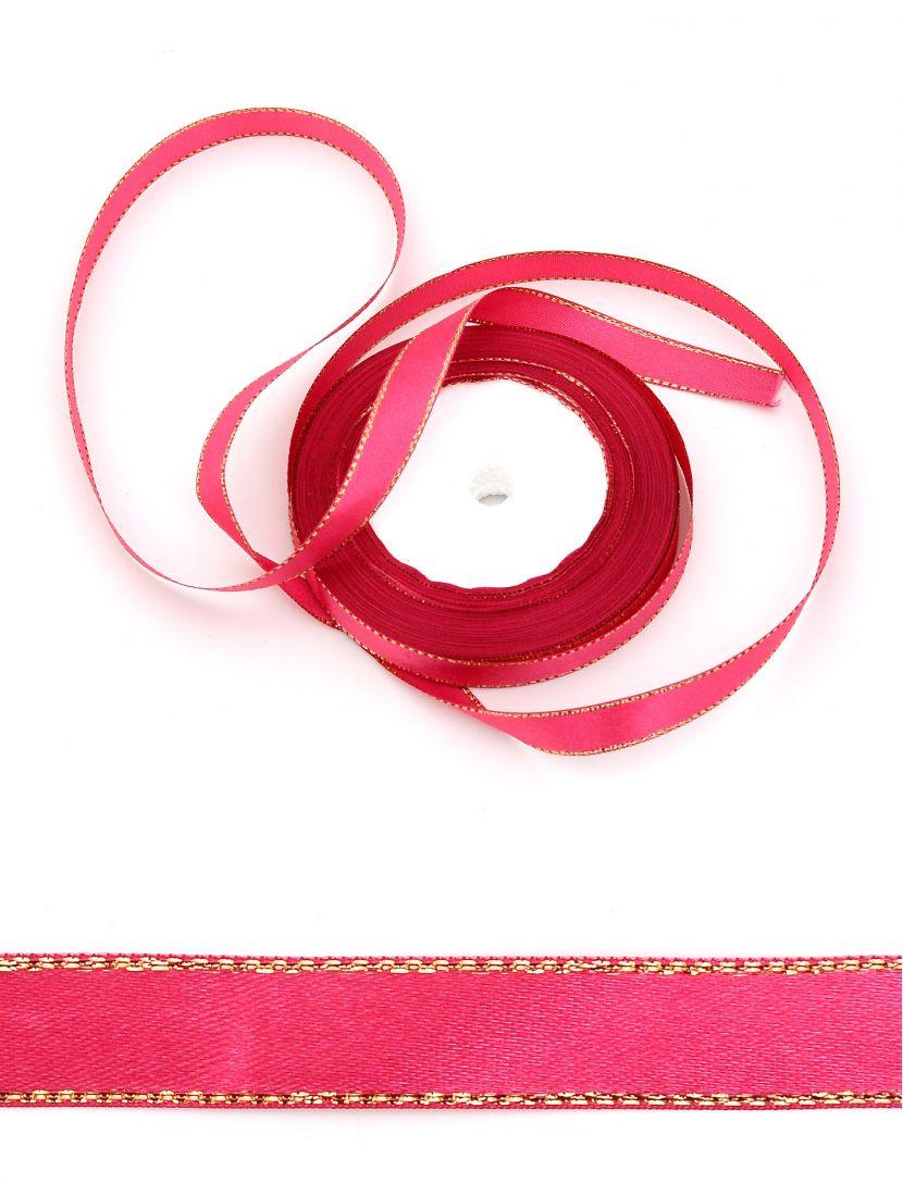 Лента атласная с люрексом 12 мм красно-фиолетовая 25,4 м