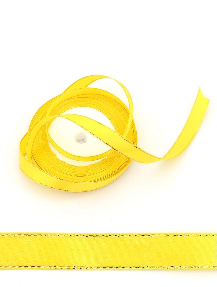 Лента атласная с люрексом 12 мм жёлтая 22,4 м