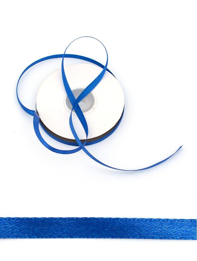 Лента атласная 6 мм тёмно-синяя 25,4 м