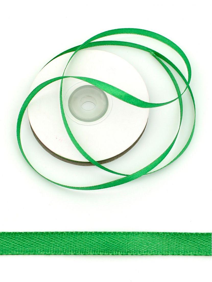 Лента атласная 6 мм зелёная 25,4 м