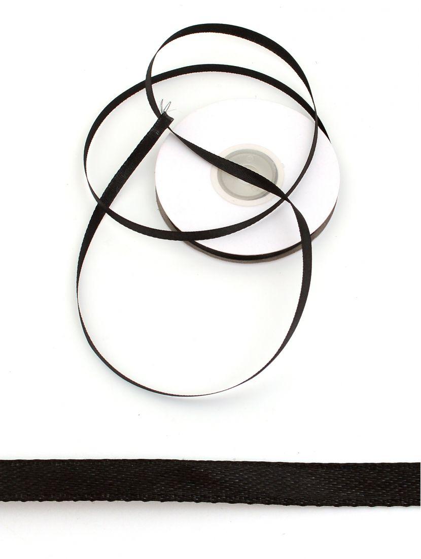 Лента атласная 6 мм чёрная 25,4 м