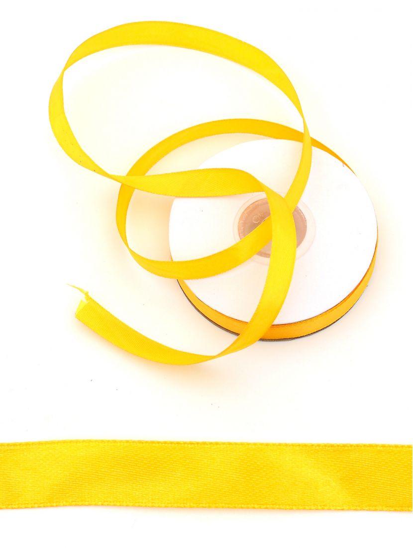 Лента атласная 12 мм жёлтая 25,4 м