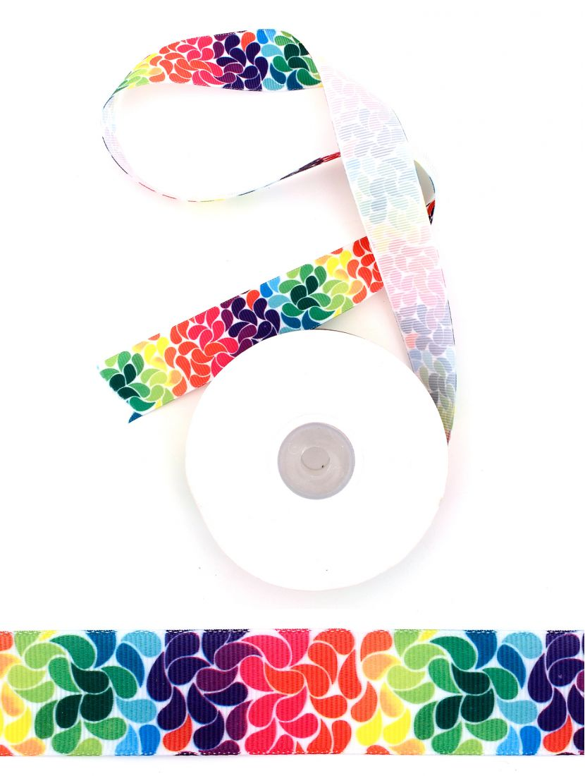 Лента атласная с рисунком «Разноцветные лепестки» 25 мм, намотка 22,4 м
