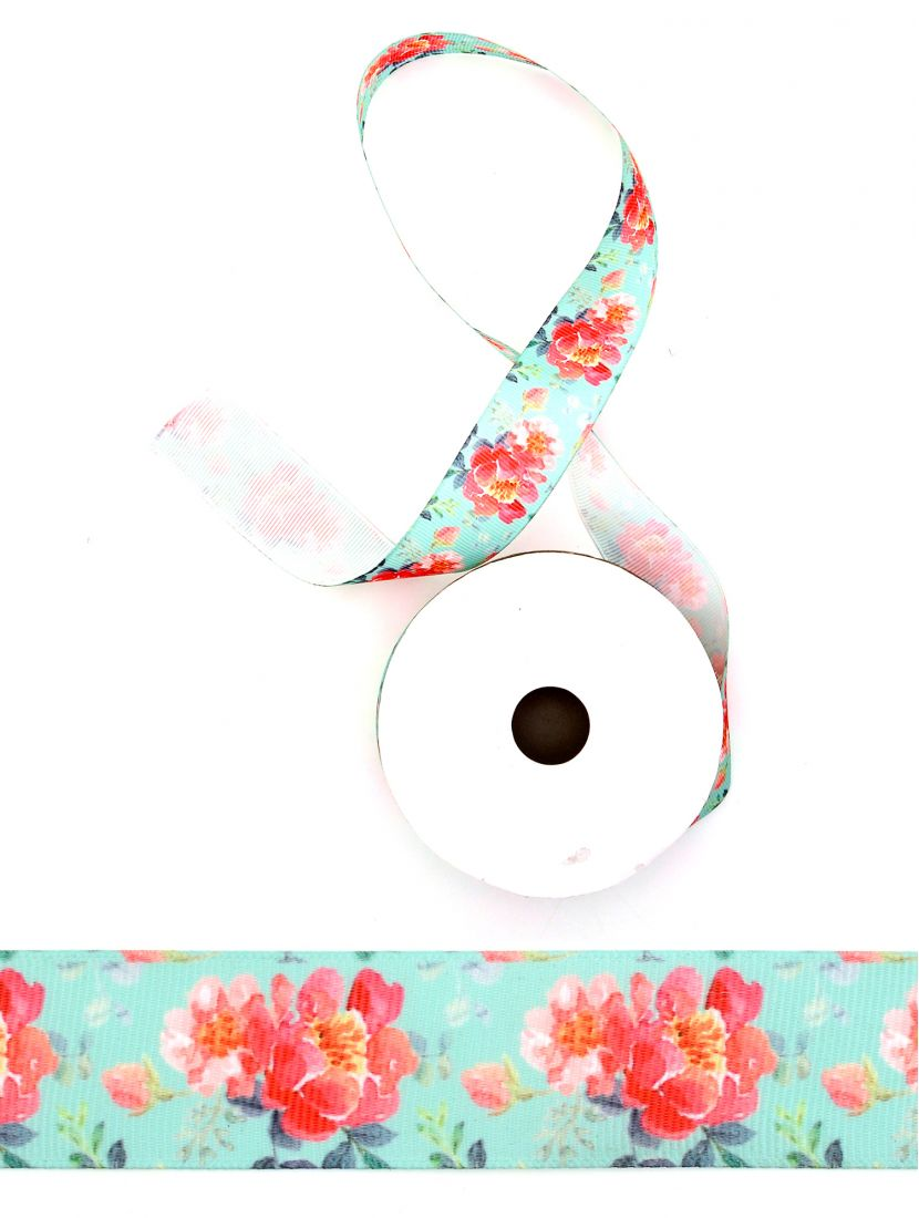 Лента атласная с рисунком «Цветы шиповника» 25 мм бирюзовая 22,4 м