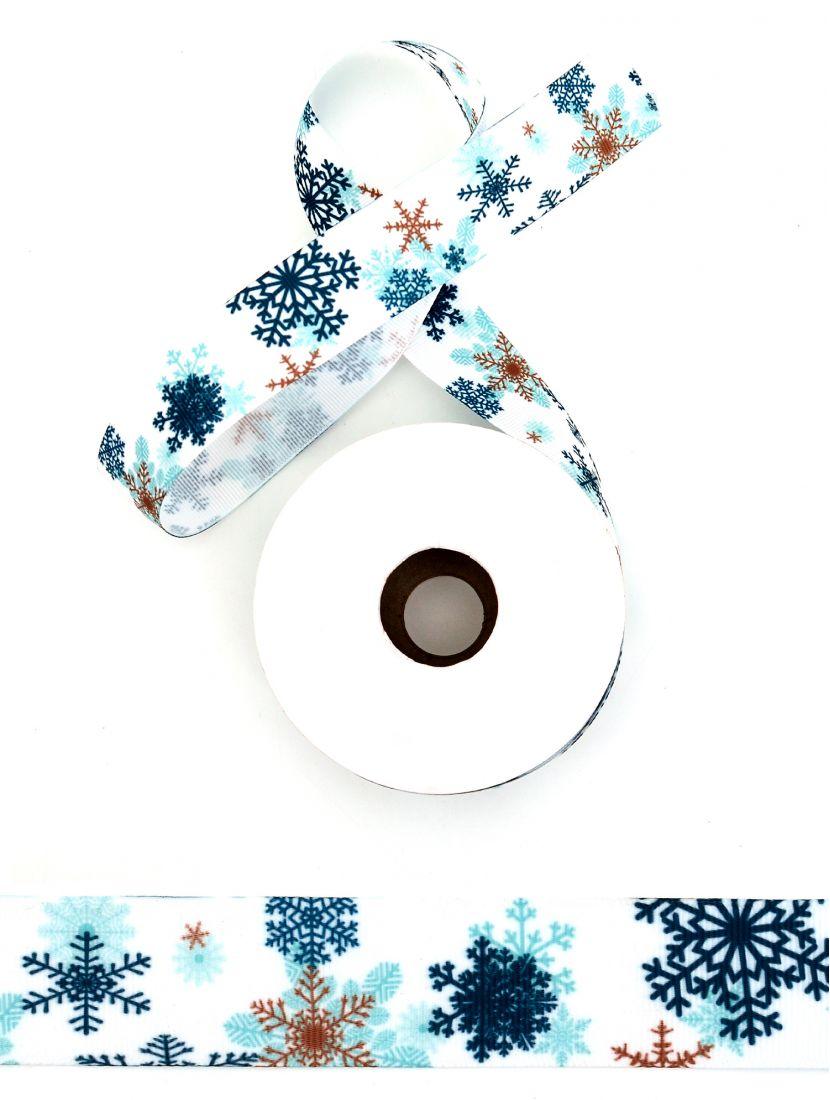 Лента репсовая с рисунком «Снежинки» 25 мм белая 22,4 м