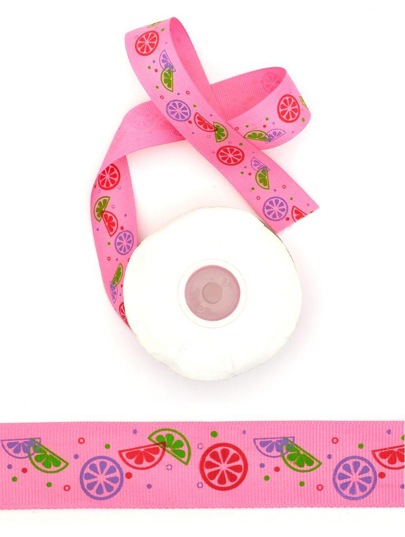 Лента атласная с рисунком «Цитрусовые дольки» 25 мм розовая 22,4 м