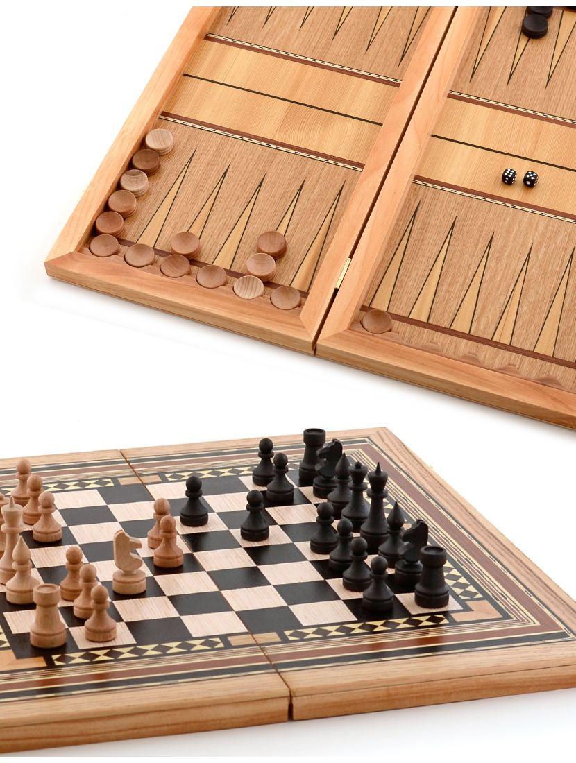 Нарды, шахматы, шашки 3в1 «Девятиклинка» инкрустация шпоном