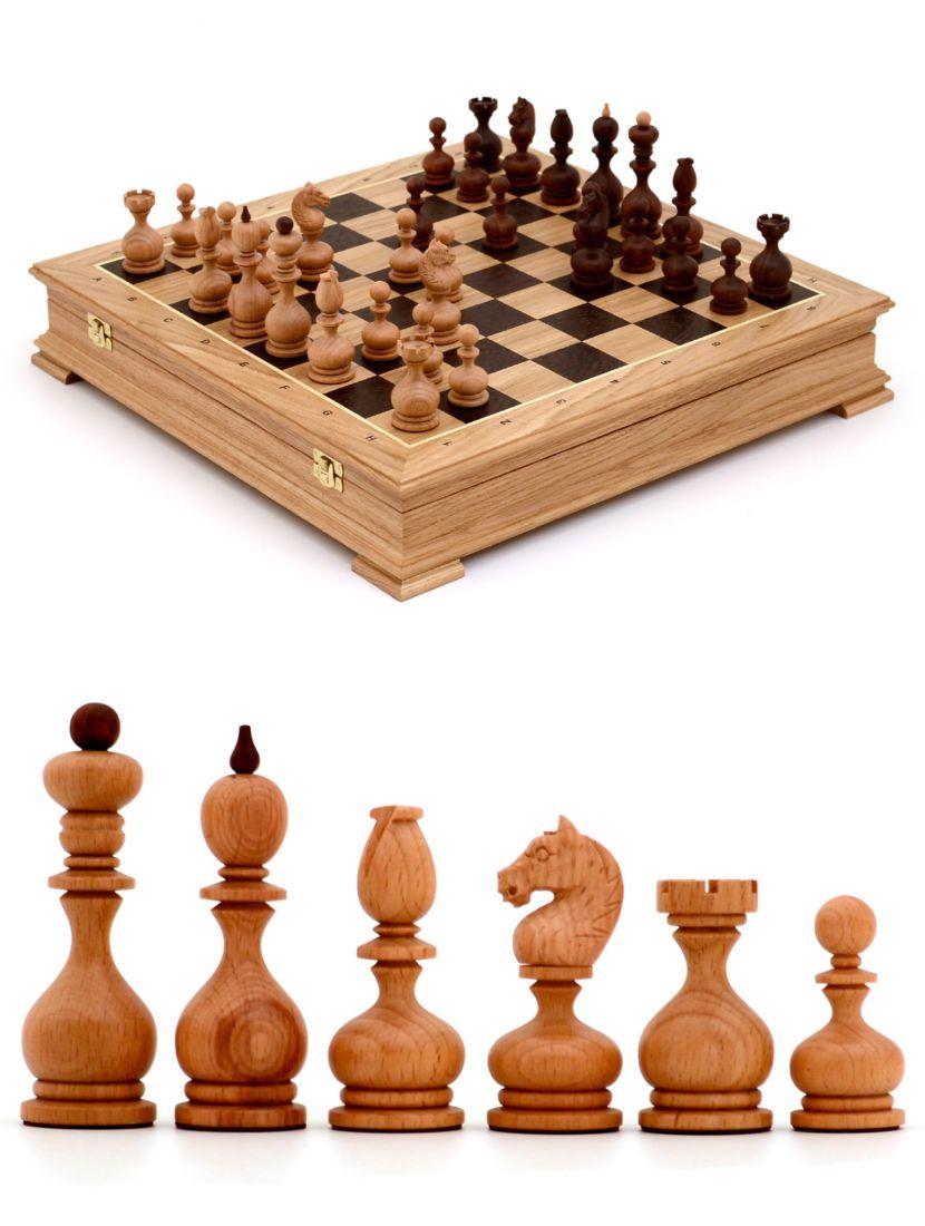 Шахматы с резными фигурами «Суздальские» ларец стаунтон 45x45 см дуб