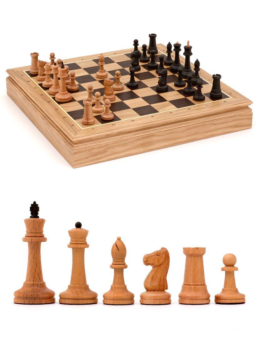 Шахматы «Стаунтон» ларец дворянский из дуба 45x45 см