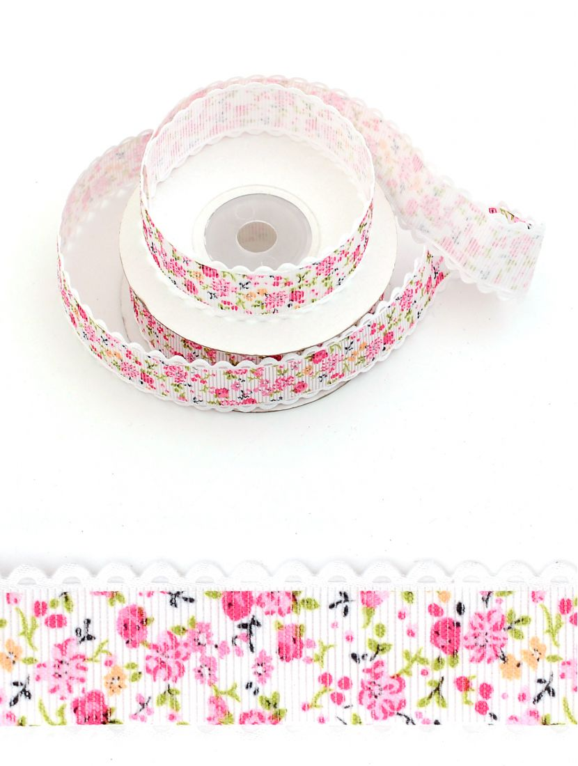 Лента репсовая 25 мм розовая с цветочками 9,14 м