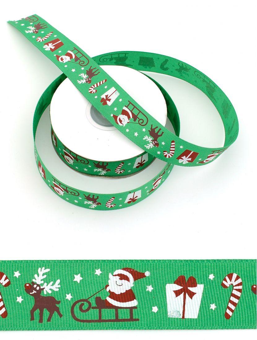 Лента репсовая 25 мм «Новогодняя» зелёная 21 м