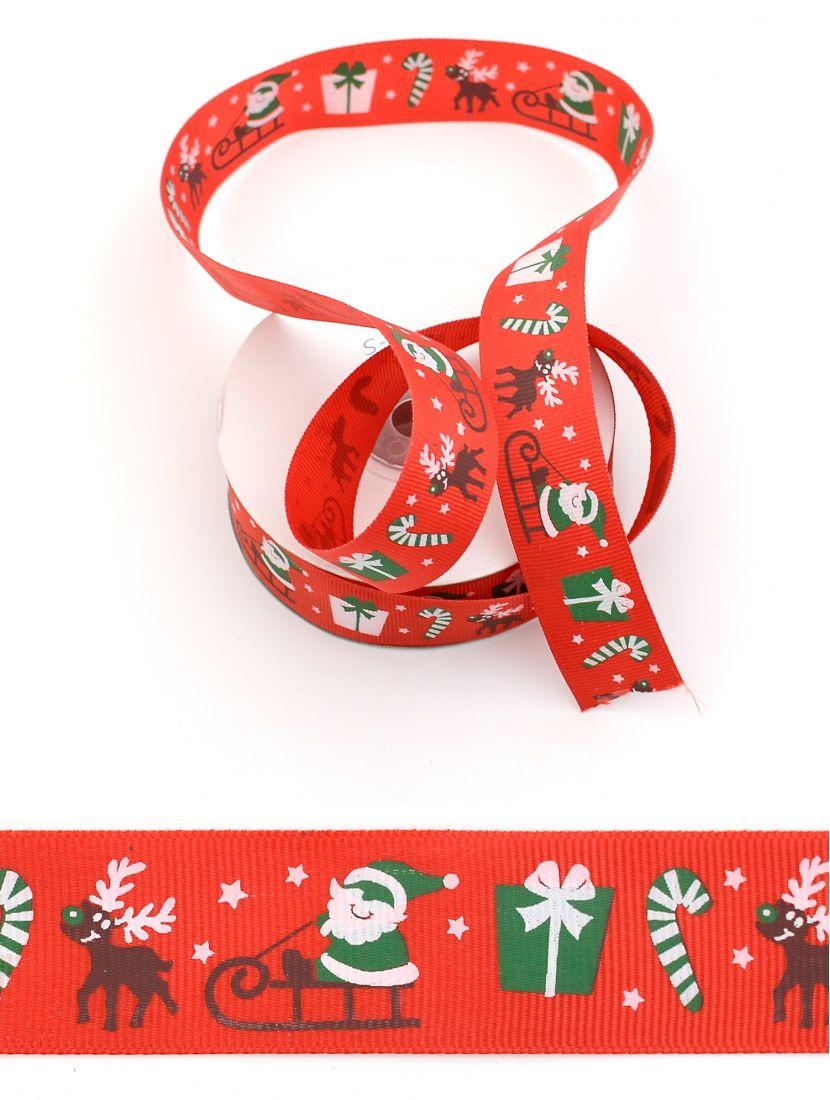 Лента репсовая 25 мм «Новогодняя» красная 21 м