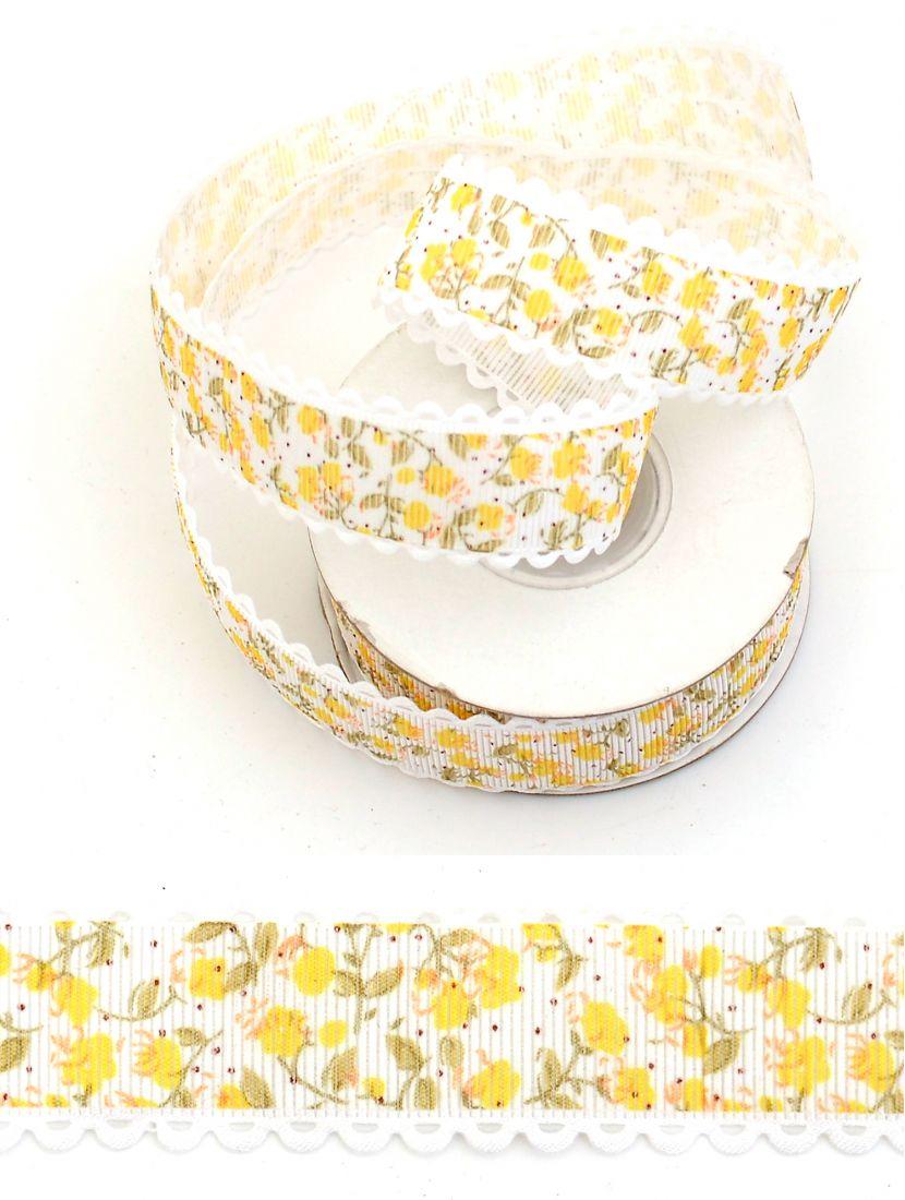 Лента репсовая 25 мм белая с жёлтыми розами 9,14 м