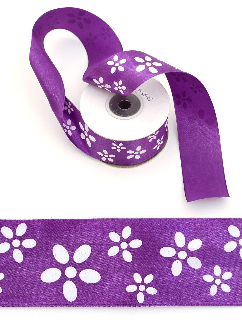 Лента атласная 38 мм фиолетовая, намотка 24 м