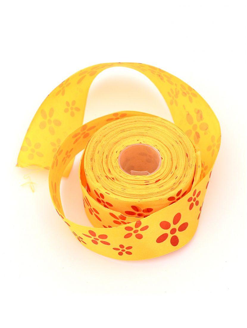 Лента атласная 38 мм жёлтая, намотка 24 м