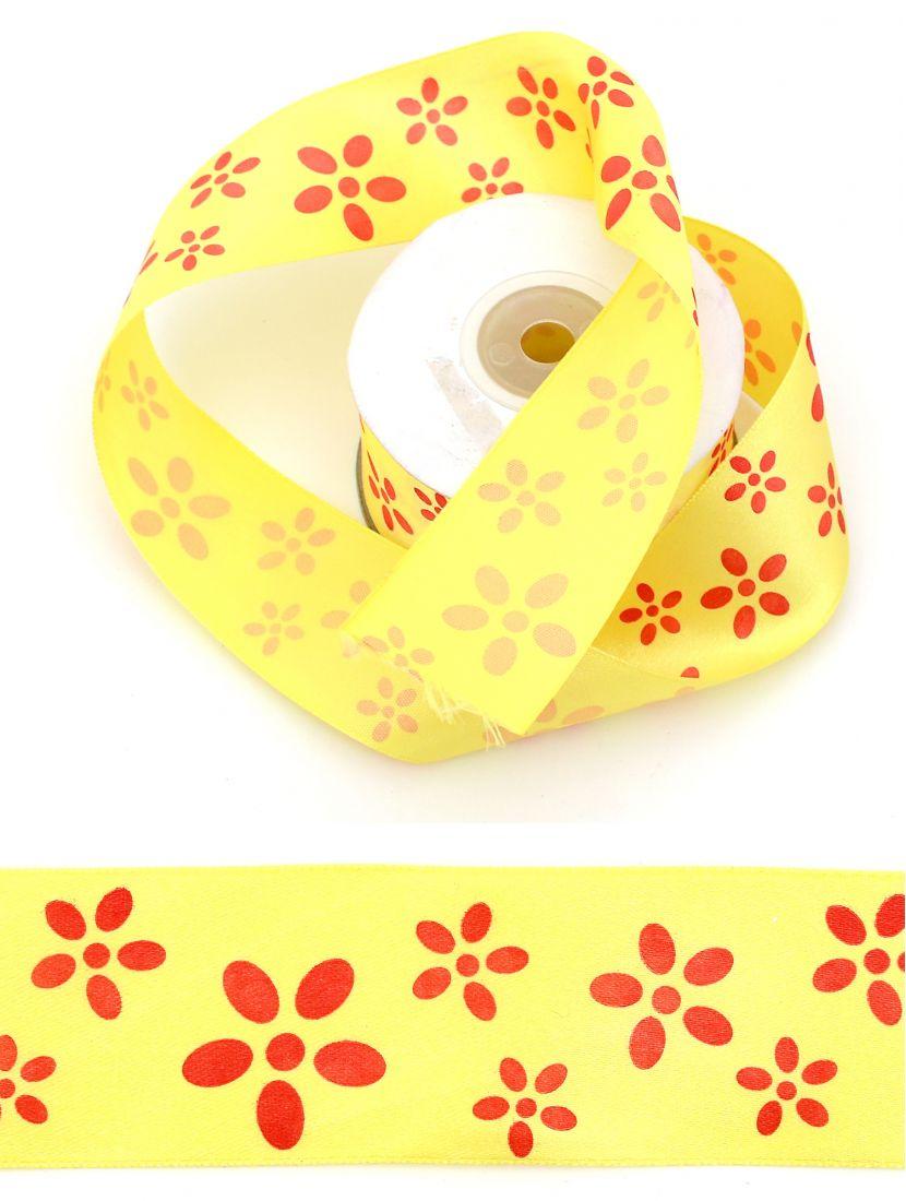 Лента атласная 38 мм светло-жёлтая, намотка 24 м