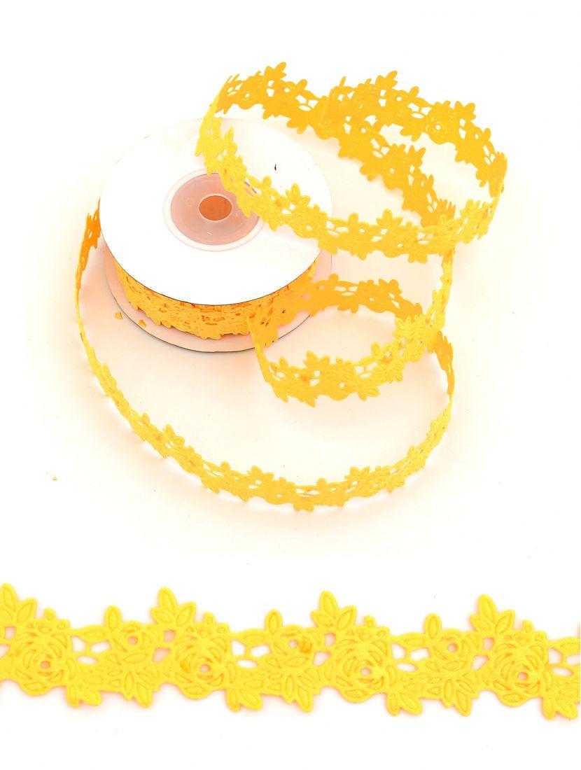 Лента ажурная «Розы» 15 мм жёлтая,  9 м