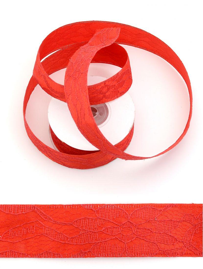 Лента ажурная 25 мм красная, 9 м