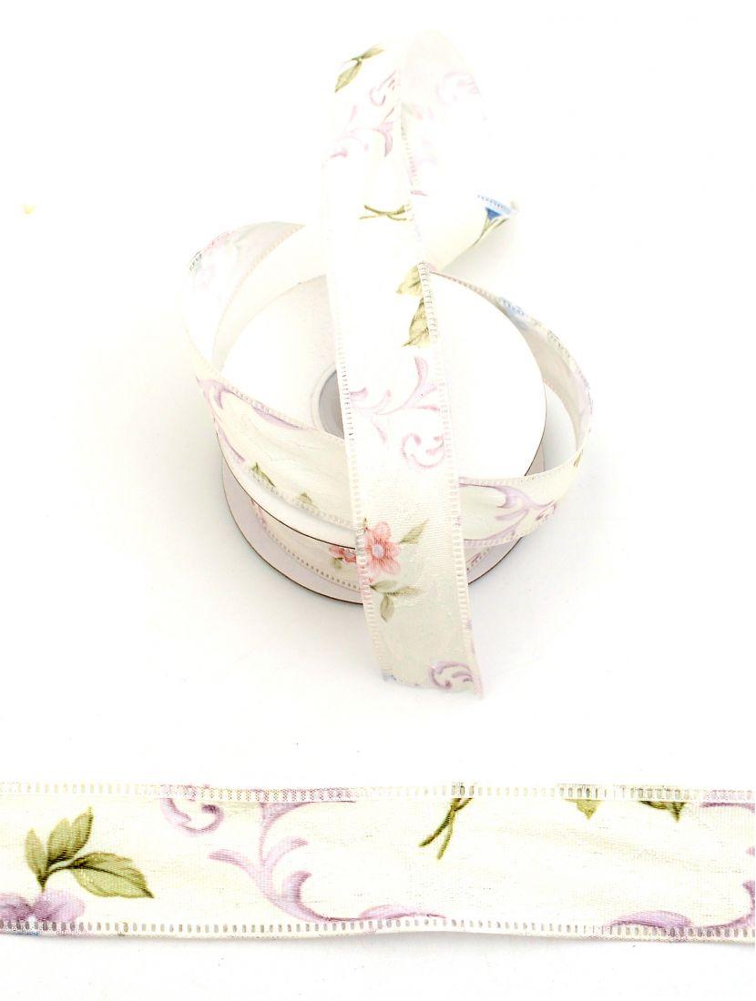 Лента ажурная 25 мм «Волшебные цветы», белая 9 м