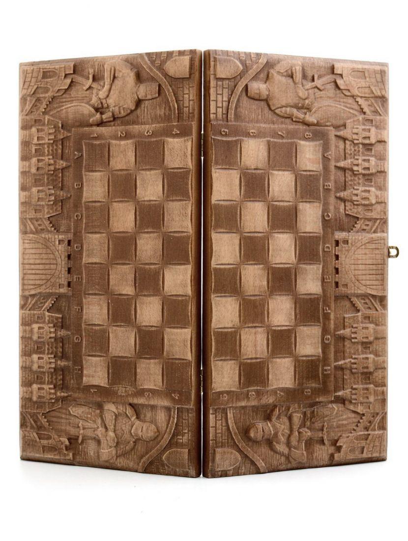 Нарды, шахматы, шашки «Рыцарские» мини резные из бука